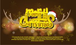 Christmas And New Year Typographical on background with bokeh. Royalty Free Stock Images
