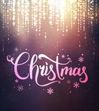 Christmas and New Year typographical on background with sparking, light, stars. Glowing glitter light effects. Xmas card. Vector Illustration royalty free illustration