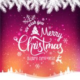 Christmas and New Year typographical on background with winter landscape with snowflakes, light, stars. Xmas card. Vector Illustration stock illustration