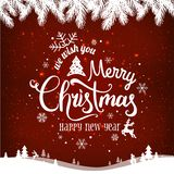 Christmas and New Year typographical on background with winter lChristmas and New Year typographical on red background with winter. Christmas and New Year vector illustration