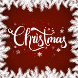 Christmas and New Year typographical on background with winter landscape with snowflakes, light, stars. Christmas and New Year typographical on red background stock illustration