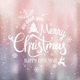 Christmas and New Year typographical on shiny background with winter landscape with snowflakes, light, stars. Xmas card. Vector Illustration stock illustration