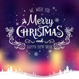 Christmas and New Year typographical on background with winter landscape with Northern Lights, snowflakes, light, stars. Xmas card Royalty Free Stock Photos