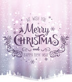 Christmas and New Year typographical on background with winter landscape with Northern Lights, snowflakes, light, stars. Xmas card. Christmas and New Year Stock Photos