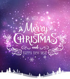 Christmas and New Year typographical on background with winter landscape with Northern Lights, snowflakes, light, stars. Xmas card. Christmas and New Year Royalty Free Stock Photos