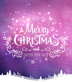 Christmas and New Year typographical on background with winter landscape with Northern Lights, snowflakes, light, stars. Xmas card. Christmas and New Year Royalty Free Stock Photo
