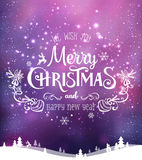 Christmas and New Year typographical on background with winter landscape with Northern Lights, snowflakes, light, stars. Xmas card. Christmas and New Year Stock Photo
