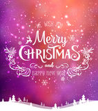 Christmas and New Year typographical on background with winter landscape with Northern Lights, snowflakes, light, stars. Xmas card. Christmas and New Year Royalty Free Stock Image
