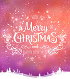 Christmas and New Year typographical on background with winter landscape with Northern Lights, snowflakes, light, stars. Xmas card. Christmas and New Year Royalty Free Stock Photography
