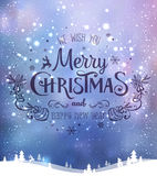 Christmas and New Year typographical on background with winter landscape with Northern Lights, snowflakes, light, stars. Xmas card. Christmas and New Year Stock Photography