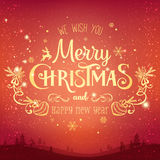 Christmas and New Year typographical on background with winter landscape with Northern Lights, snowflakes, light, stars. Xmas card. Christmas and New Year Stock Image