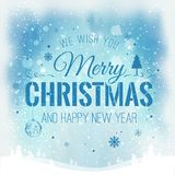 Christmas and New Year typographical on background with winter landscape with snowflakes, light, stars. Xmas card. Vector Illustration Royalty Free Stock Photos