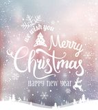Christmas and New Year typographical on background with winter lChristmas and New Year typographical on background. Christmas and New Year typographical on stock illustration
