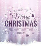 Christmas and New Year typographical on background with winter landscape with snowflakes, light, stars. Xmas card. Vector. Illustration Royalty Free Stock Photos