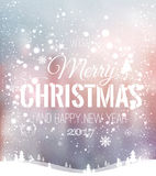 Christmas and New Year typographical on background with winter landscape with snowflakes, light, stars. Xmas card. Vector. Illustration Royalty Free Stock Images