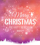 Christmas and New Year typographical on background with winter landscape with snowflakes, light, stars. Xmas card. Vector. Illustration Royalty Free Stock Photography