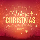 Christmas and New Year typographical on background with winter landscape with snowflakes, light, stars. Xmas card. Vector. Illustration Stock Photography