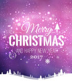 Christmas and New Year typographical on background with winter landscape with snowflakes, light, stars. Xmas card. Vector. Illustration Royalty Free Stock Photo