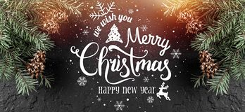 Christmas and New Year Typographical on black holiday background with Fir branches, pine cones. Xmas and Happy New Year theme, bokeh, sparking, glowing. Flat royalty free illustration