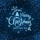 Christmas and New Year typographical on blue background with firework, light, stars. Glowing glitter light effects. Xmas card. Vector Illustration stock illustration