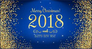 Christmas 2018 and New Year typographical on blue background with gold firework. Stock Photography