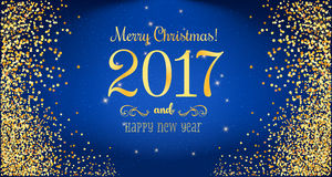 Christmas 2017 and New Year typographical on blue background with Gold glitter texture. Vector illustration for golden shimmer background. Xmas card. Vector Royalty Free Stock Image