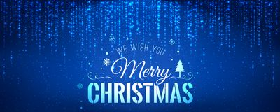 Christmas and New Year typographical on blue background with sparking, light, stars. Glowing glitter light effects. Xmas card. Vector Illustration royalty free illustration