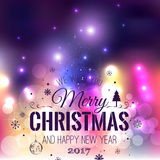 Christmas And New Year Typographical on colorful Xmas background with snowflakes, light, stars. Vector Illustration. Xmas card Stock Image