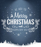 Christmas and New Year typographical on dark background with winter landscape with snowflakes, light, stars. Xmas card. Vector Stock Images
