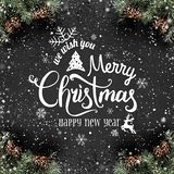 Christmas and New Year Typographical on dark holiday background with frame of Fir branches, pine cones, snowflakes. Xmas and Happy New Year theme, snow. Flat royalty free illustration