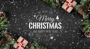 Christmas and New Year Typographical on holiday background withChristmas and New Year Typographical on holiday background with Fir. Christmas and New Year vector illustration