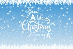 Christmas and New Year typographical on holidays background with snowflakes, light, stars. Vector Illustration. Xmas card royalty free illustration
