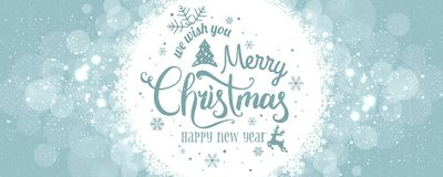 Christmas and New Year typographical on holidays background with snowflakes, light, stars. Vector Illustration. Xmas card vector illustration