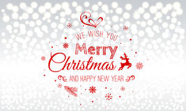 Christmas and New Year typographical on holidays background with snowflakes, light, stars. Vector Illustration. Xmas. Card Stock Photo