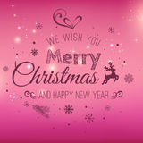Christmas and New Year typographical on holidays background with snowflakes, light, stars. Vector Illustration. Xmas. Card Stock Photos