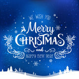 Christmas and New Year typographical on holidays background with snowflakes, light, stars. Vector Illustration. Xmas Stock Photo
