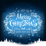 Christmas and New Year typographical on holidays background with snowflakes, light, stars. Vector Illustration. Xmas Stock Images