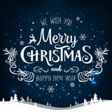 Christmas and New Year typographical on holidays background with snowflakes, light, stars. Vector Illustration. Xmas Stock Photography