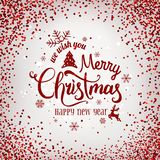 Christmas and New Year typographical on light background with firework, light, stars. Glowing glitter light effects. Xmas card. Vector Illustration royalty free illustration