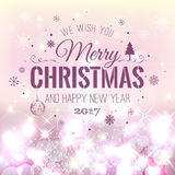 Christmas And New Year Typographical on pink Xmas background with snowflakes, light, stars. Vector Illustration. Xmas card Royalty Free Stock Image