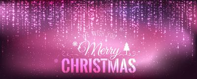 Christmas and New Year typographical on purple background with sparking, light, stars. Glowing glitter light effects. Xmas card. Vector Illustration royalty free illustration