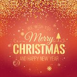 Christmas and New Year typographical on red background with gold firework. Xmas card. Vector Illustration Stock Photography