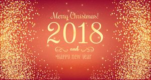 Christmas 2018 and New Year typographical on red background with gold firework. Xmas card. Vector Illustration Royalty Free Stock Photos