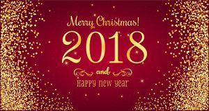Christmas 2018 and New Year typographical on red background with gold firework. Xmas card. Vector Illustration Stock Images