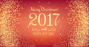 Christmas 2017 and New Year typographical on red background. With gold firework. Xmas card. Vector Illustration Stock Images