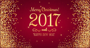Christmas 2017 and New Year typographical on red background. With gold firework. Xmas card. Vector Illustration Stock Photography