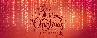 Christmas and New Year typographical on red background with sparking, light, stars. Glowing glitter light effects. royalty free illustration