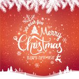 Christmas and New Year typographical on red background with winter landscape with snowflakes, light, stars. Xmas card. Vector Illustration royalty free illustration