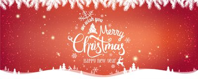 Christmas and New Year Typographical on red Xmas background with winter landscape. With snowflakes, light, stars. Merry Christmas card. Vector Illustration royalty free illustration