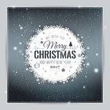 Christmas And New Year Typographical on shiny Xmas background with snowflakes, light, stars. Vector Illustration. Xmas card Stock Photos